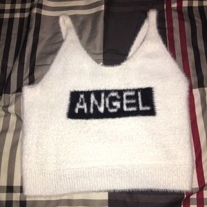 Forever 21 Fuzzy Angel Crop Tank